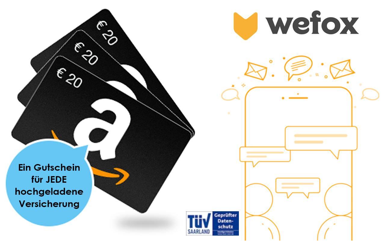 [wefox] 20€ Amazon Gutschein pro Upload in Versicherungs-App