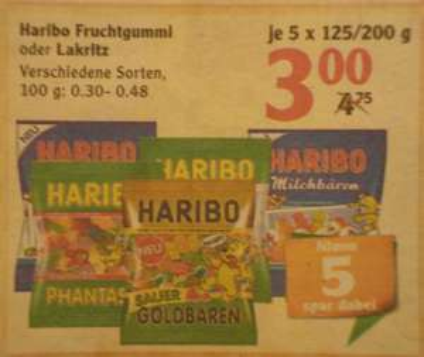 [Globus] 5 x Haribo Fruchtgummi oder Lakritz (versch. Sorten) für 3,00€ (0,60€ / Tüte)