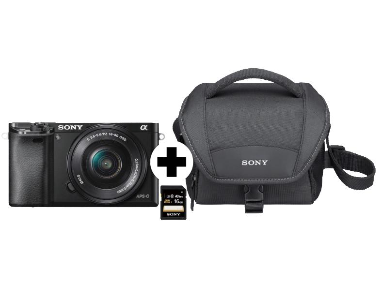 Lokal  Saturn Dresden (Altmarkt Galerie)  - Sony A6000 Systemkamera (ILCE6000LBCDI) KIT + 16GB SD-Karte + Sony Tasche, 24.3 Megapixel, FULL HD, WLAN, 16-50 mm Objektiv