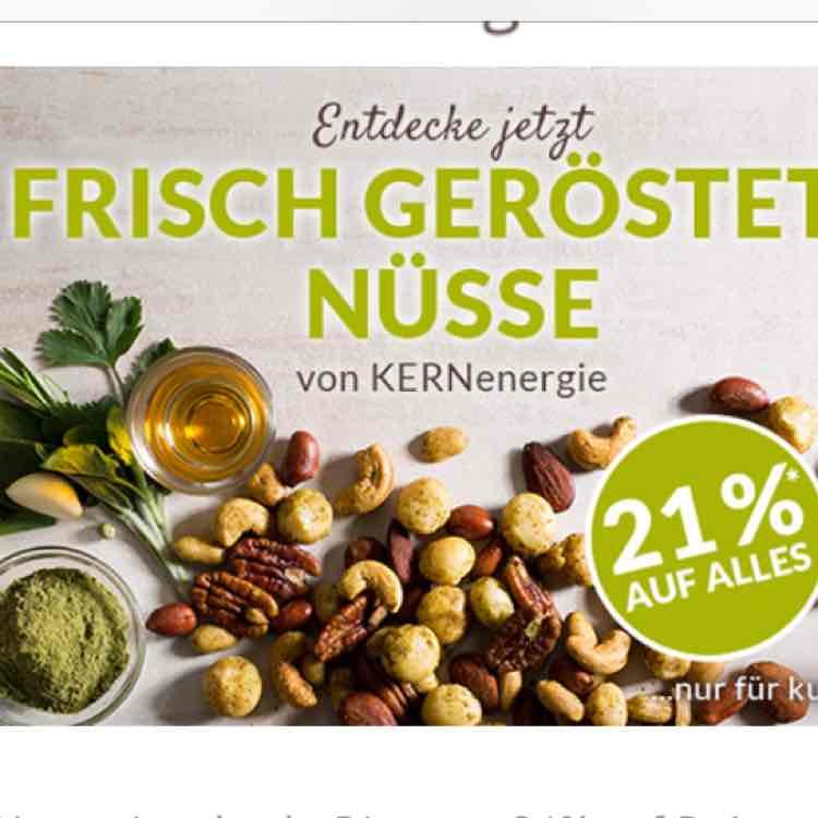 -21% bei KERNenergie – Nüsse frisch für Dich geröstet! +10€ Newsletter