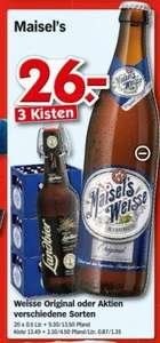 [LOKAL?] Hol'ab Getränkemarkt - Maisel's Weisse 3 Kisten 26 € plus 1 Weizenglas