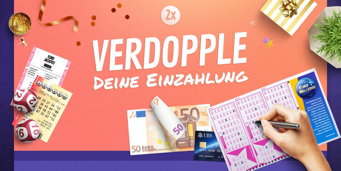 [playeurolotto.com] z.B. EuroJackpot für eff. 1,45€/Feld; Verdopplung der Einzahlung bei allen Lotterien, auch Lotto und EuroMillionen