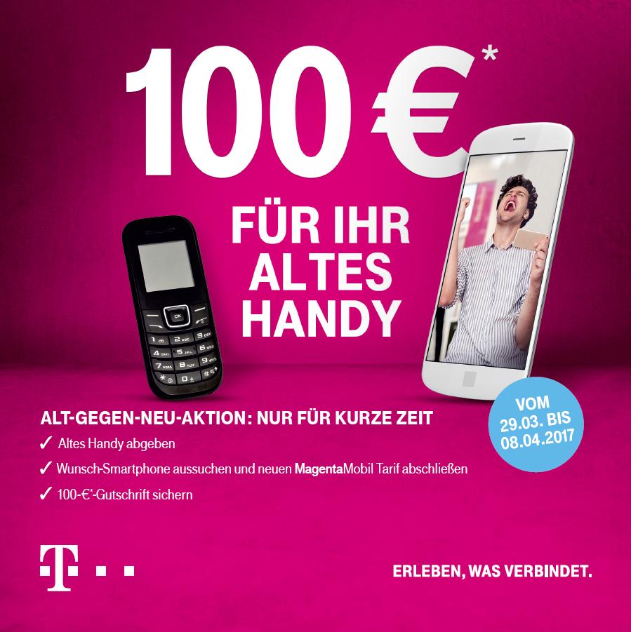 """Vorankündigung: Telekom """"Alt-Gegen-Neu""""-Aktion ab 29.03.: 100 € Gutschrift bei Abschluss eines neuen Magenta Mobil Vertrags"""