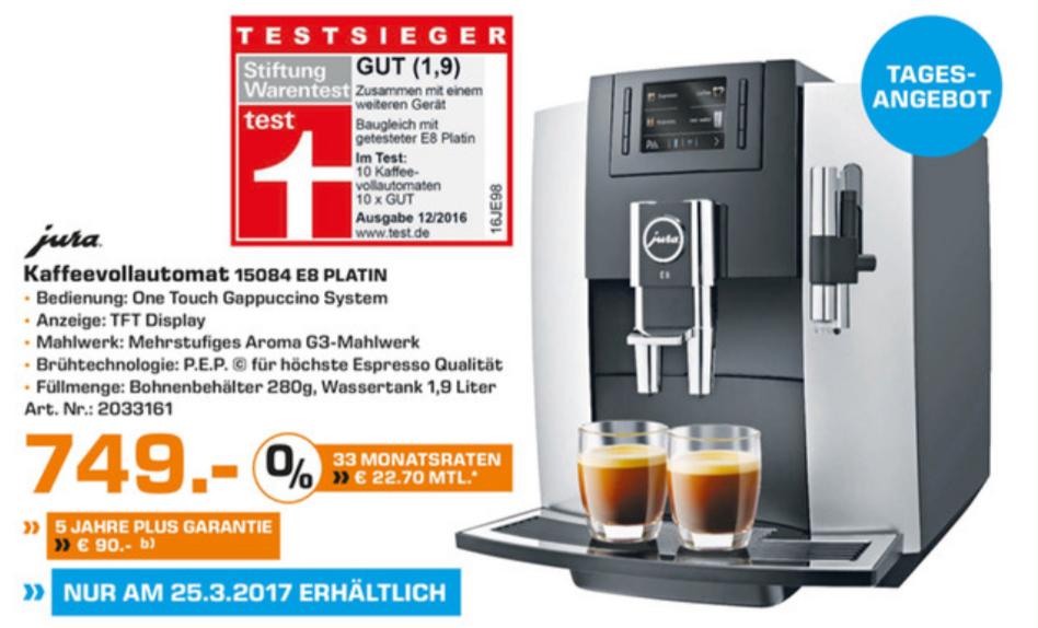 [Saturn Bochum] Jura Kaffeevollautomat E8 Platin - nur am 25.03!