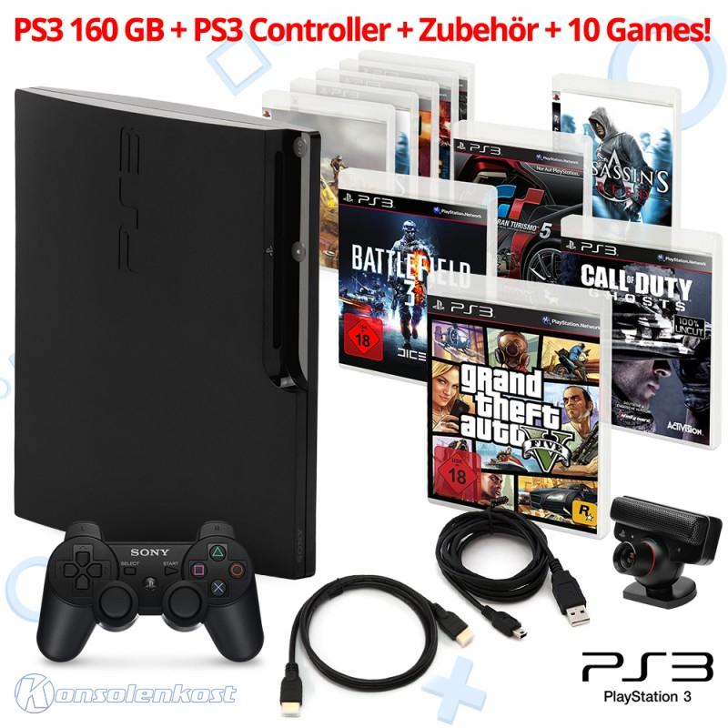 [Konsolenkost]PS3 - Mega Set: 160GB Konsole + Top PS3 Games. GTA 5, COD, Gran Turismo, Battlefield + 5 GRATIS Spiele (gebraucht) USK18