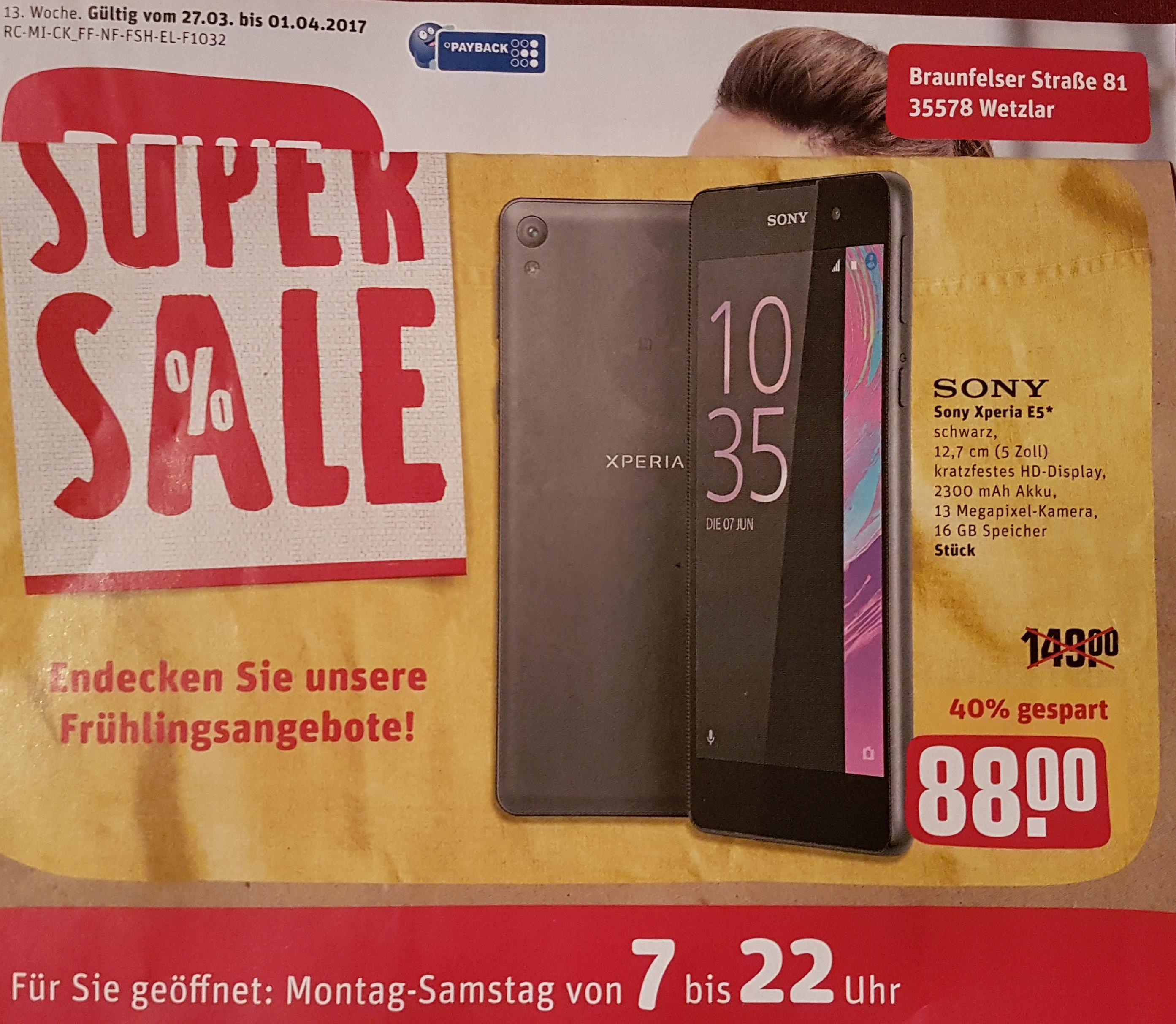 [Lokal Wetzlar] Sony Xperia E5 Rewe Center PVG: 134,99€