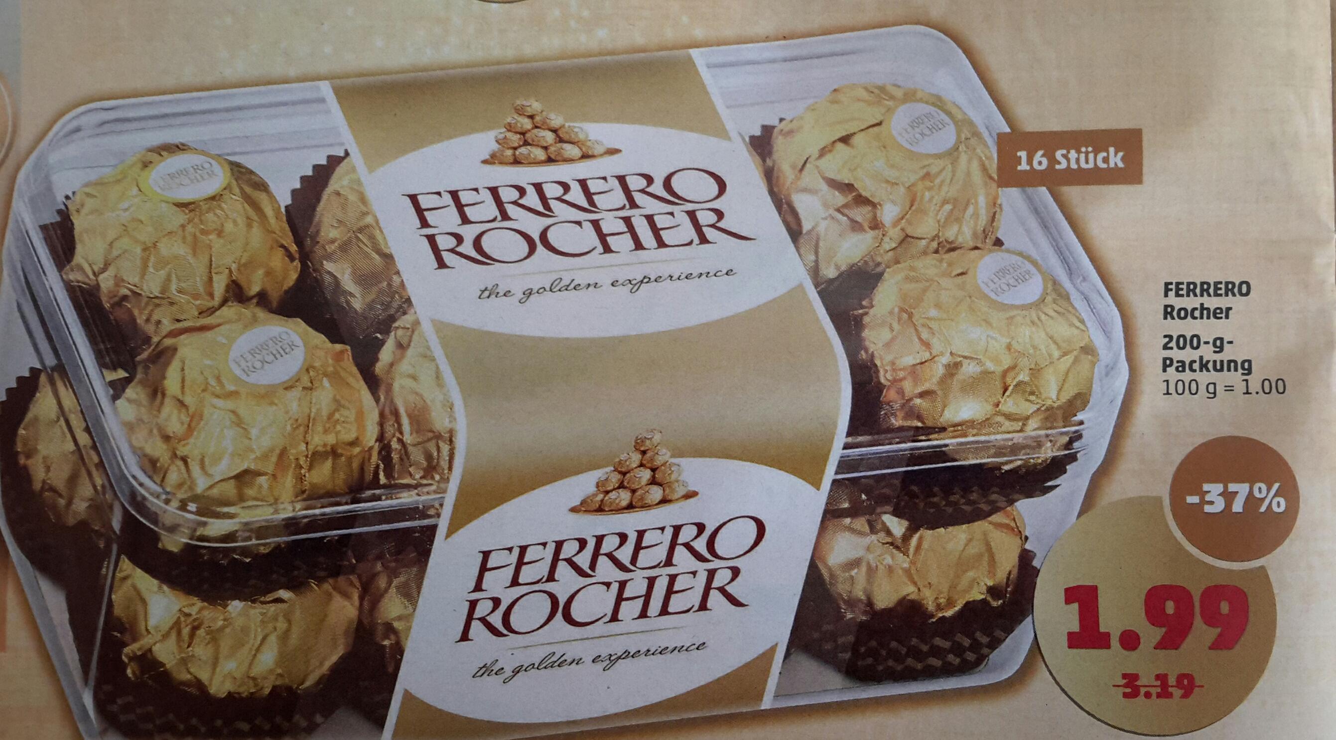 [Penny] Ferrero Rocher 16 Stück 200 Gramm Packung ab 27.03.17 für 1,99 €.