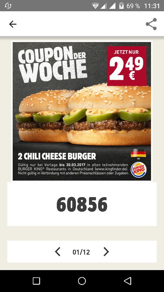 Burger King - Zwei Chili Cheese Burger für 2,49 Euro. [Coupon der Woche]