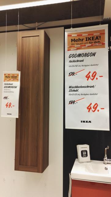 IKEA Frankfurt stark reduzierte Badmöbel Schränke ab 49€ statt 179€