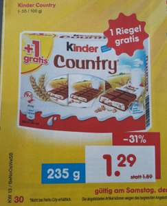 Kinder Country für 1,29 EUR bei Netto Marken-Discount