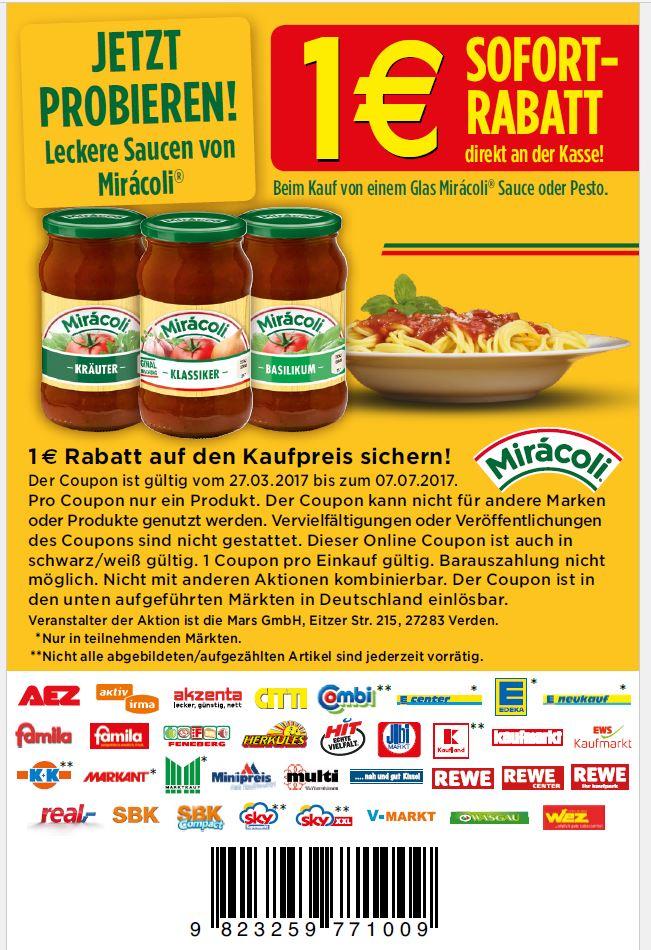 1 € Rabatt Coupon für Miracoli Saucen oder Pesto zum Drucken