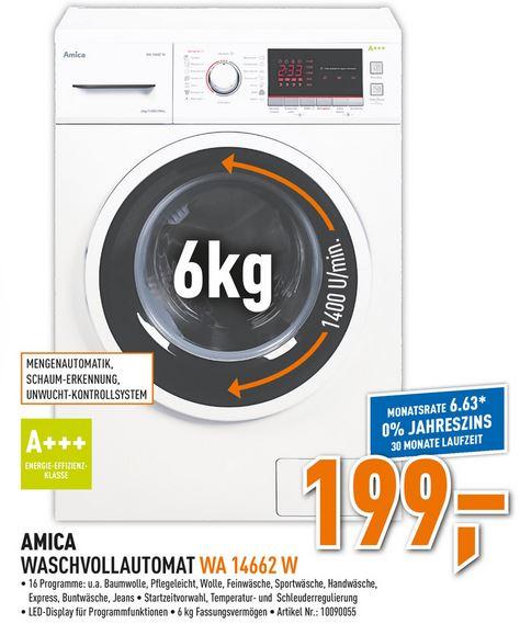 [Berlet] Amica WA 14662 W - Waschmaschine, A+++, 6 Kg, 1400 U/min für 199€