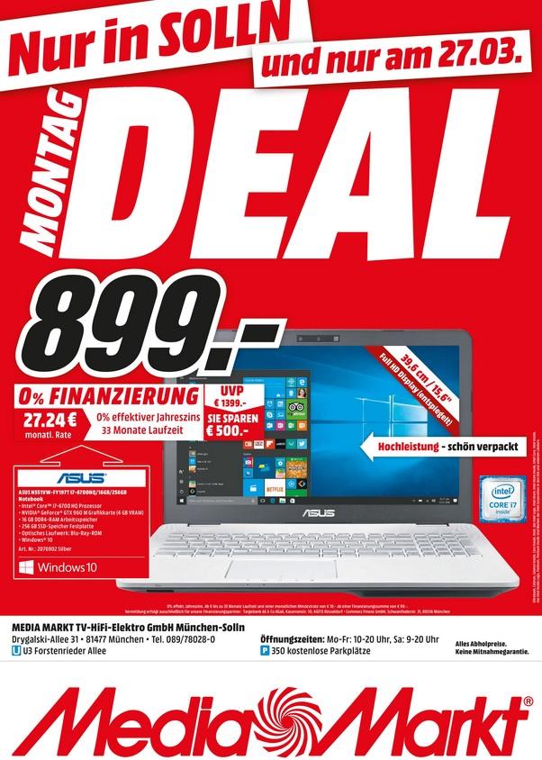 [ lokal München - Solln ] ASUS N551VW-FY197T Gaming Notebook 15.6 Zoll für 899€ @ Media Markt