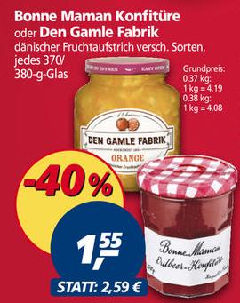[real offline] Bonne Maman Konfitüre / Den Gamle Fruchtaufstrich für 1,55€