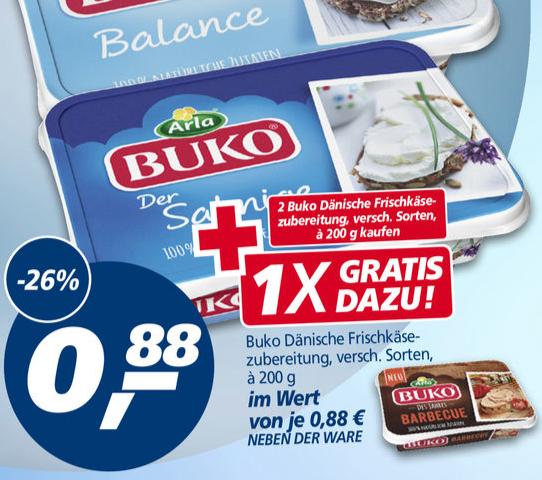 [real offline] Arla Buko 2 kaufen, 1 gratis dazu für 1,76€ -> 59 cent pro Packung