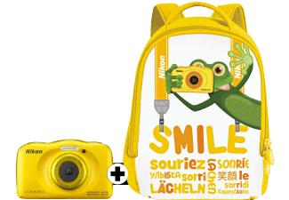 NIKON Coolpix W 100 + Rucksack Kompaktkamera, 13.2 Megapixel, Wasserdicht bis 10 Meter, stoßfest (bis 1,8m Fallhöhe), gelb, weiss oder blau-bunt mit Meerestieren für je 111€ bei Mediamarkt
