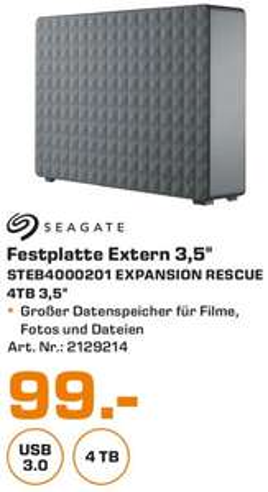 [Lokal Saturn Mönchengladbach] SEAGATE STEB4000201 Expansion Desktop Rescue Edition, 4 TB, Schwarz, Externe Festplatte, 3.5 Zoll für 99.-€
