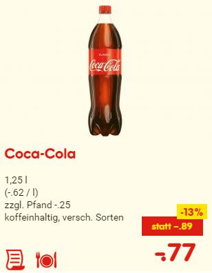 [Netto] Coca-Cola 1,25 Liter für 77 Cent