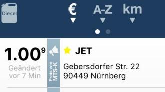 [JET] Diesel für 1€ bei JET in Nürnberg tanken