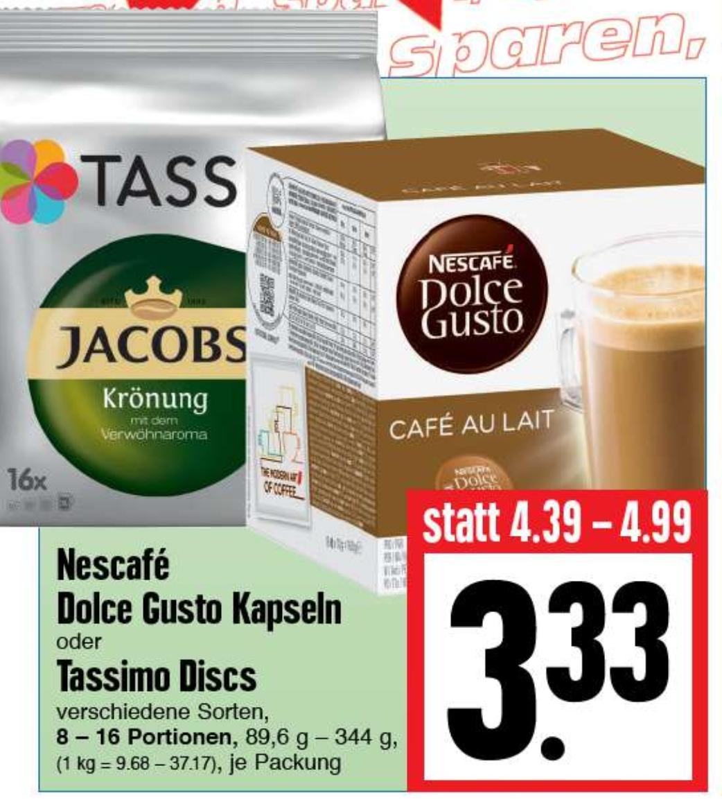 [Edeka Hessenring] Nescafe Dolce Gusto Kapseln oder Tassimo Discs für 3,33€ pro Packung (diese Woche Mo. 27.03. bis Sa. 01.04.)