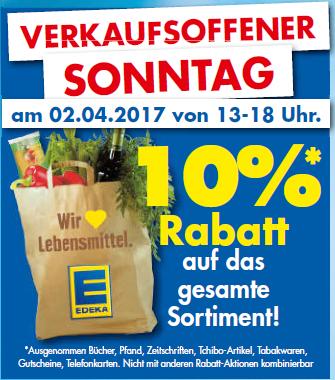 [Lokal Braunschweig] Am verkaufsoffenen Sonntag (02.04.) bei DM, Edeka + Netto (auch online) 10% Rabatt