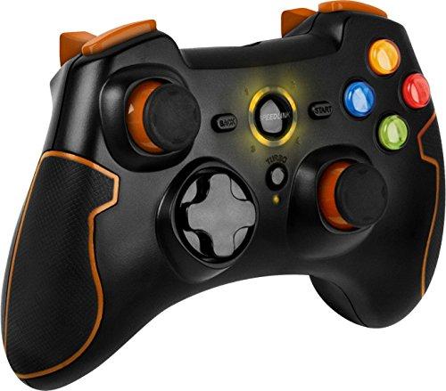 Amazon ( Prime ) Angebot: Speedlink Torid kabelloses Gamepad für PC/PS3 (bis zu 10 Stunden Spielzeit, X-Input und Direct-Input, Vibrationsfunktion, Schnellfeuerfunktion) orange/schwarz
