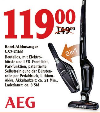 [Globus SB Warenhaus] AEG CX7-21EB - Kabelloser 2in1 Staubsauger