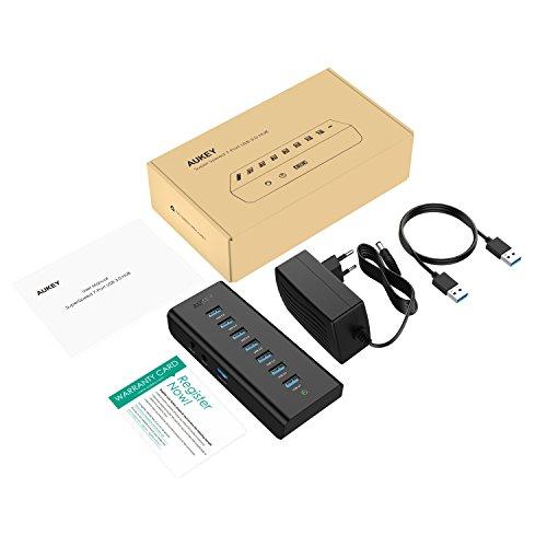AUKEY USB 3.0 Hub 7 Datenports Schwarz mit 30W Netzteiladapter und USB 3.0 Kabel - AMAZON PRIME