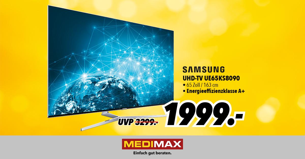 Samsung UE65KS8090 für 1999,- bei Medimax in Heinsberg