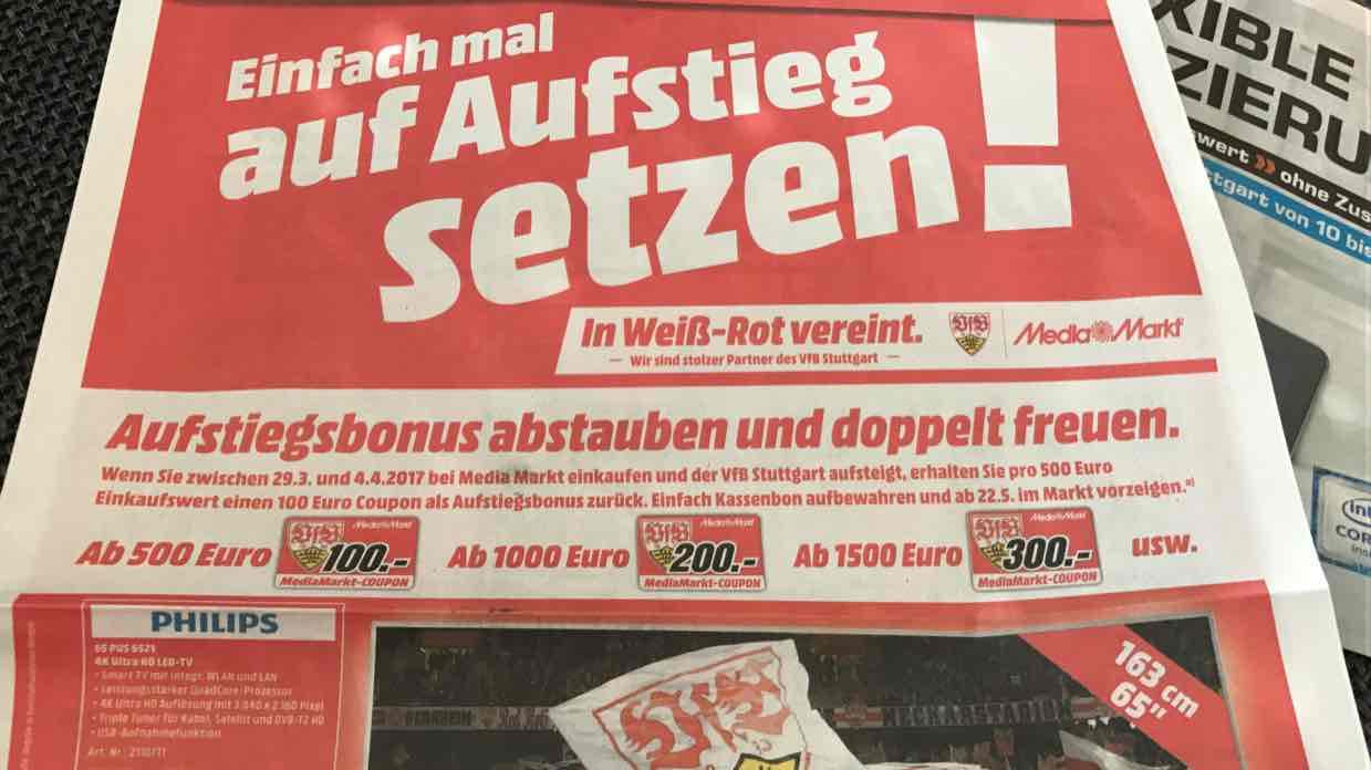 Lokal: 100€ Coupon pro 500€ Einkaufswert bei VfB Aufstieg bei Media Markt Stuttgart & Umgebung