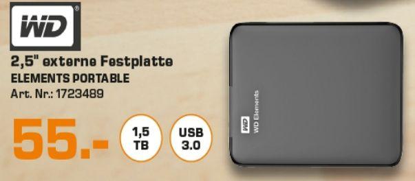 [Lokal Saturn Hamburg/Norderstedt) Western Digital Elements Portable 1,5 TB schwarz externe Festplatte USB 3.0 für 55,-€