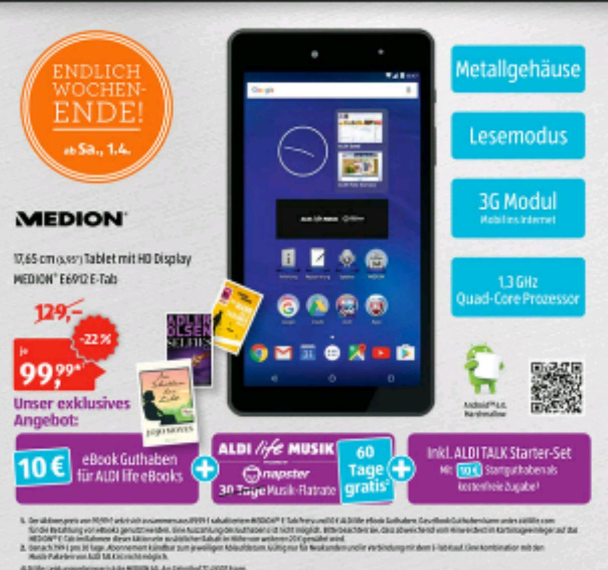 """Samstag bei Aldi Süd Medion Tablet 6,95"""""""