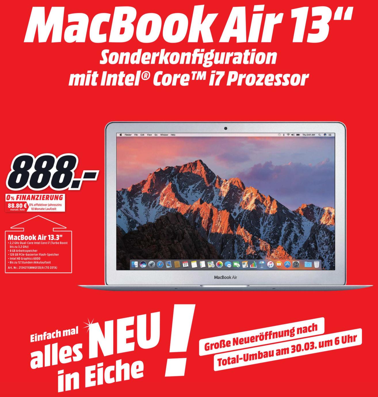 Lokal (Media Markt Eiche) MacBook Air 13 Zoll MMGF2D/A i7@2,2GHz, 8GB RAM, 128GB SSD