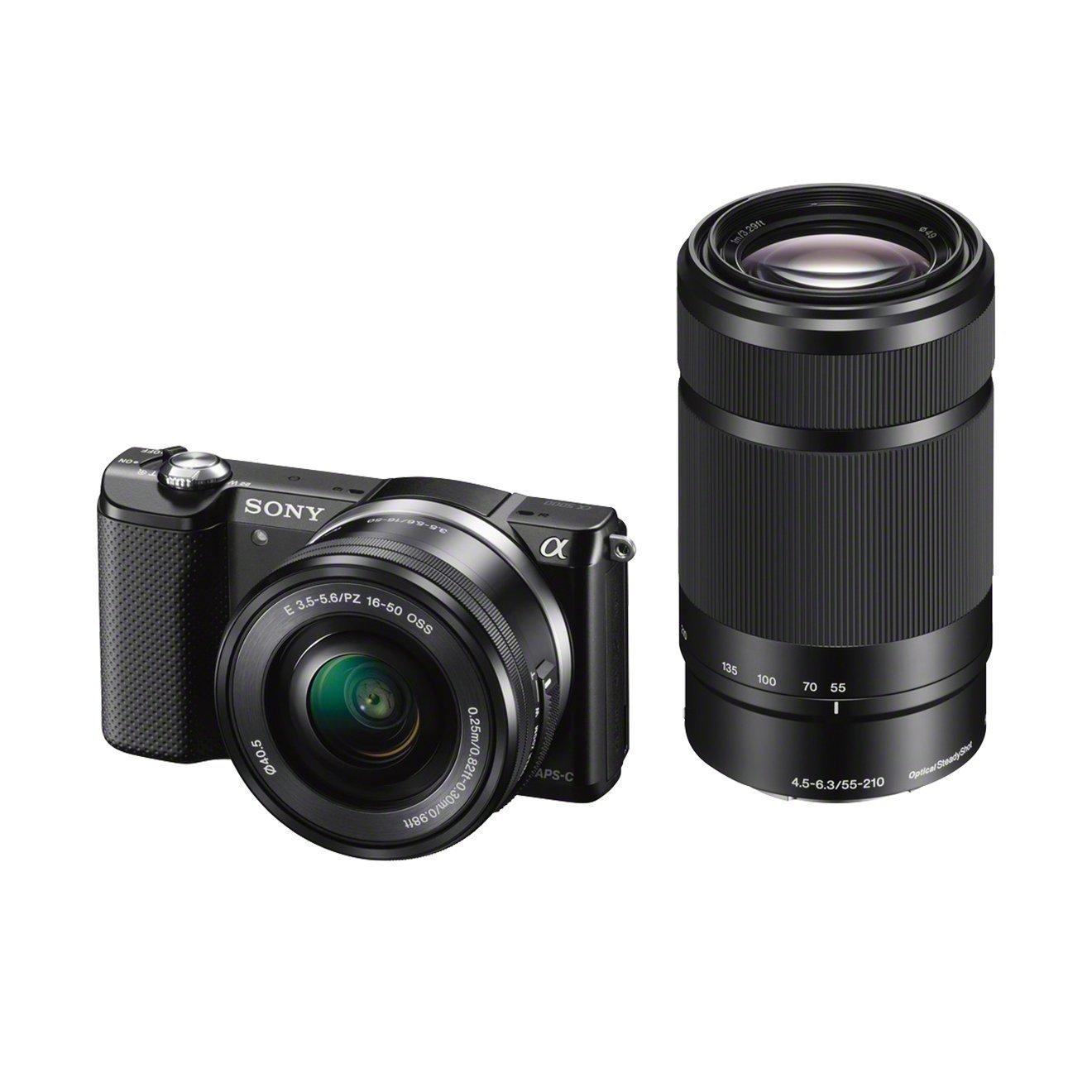 [amazon.es] Sony Alpha 5000 Systemkamera (Full HD, 20 Megapixel, Exmor APS-C HD CMOS Sensor, 3 Zoll Schwenkdisplay, NFC, WiFi) schwarz inklusive SEL-P1650 & SEL-55210 Objektiv für 428€ statt 584€
