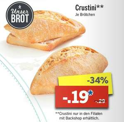 [Lidl ab 03.04.] Crustini Brötchen für 0,19€ statt 0,29€