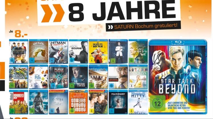 (Lokal Saturn Hattingen / Bochum) Diverse aktuelle Blu-ray Filme für je 8,-