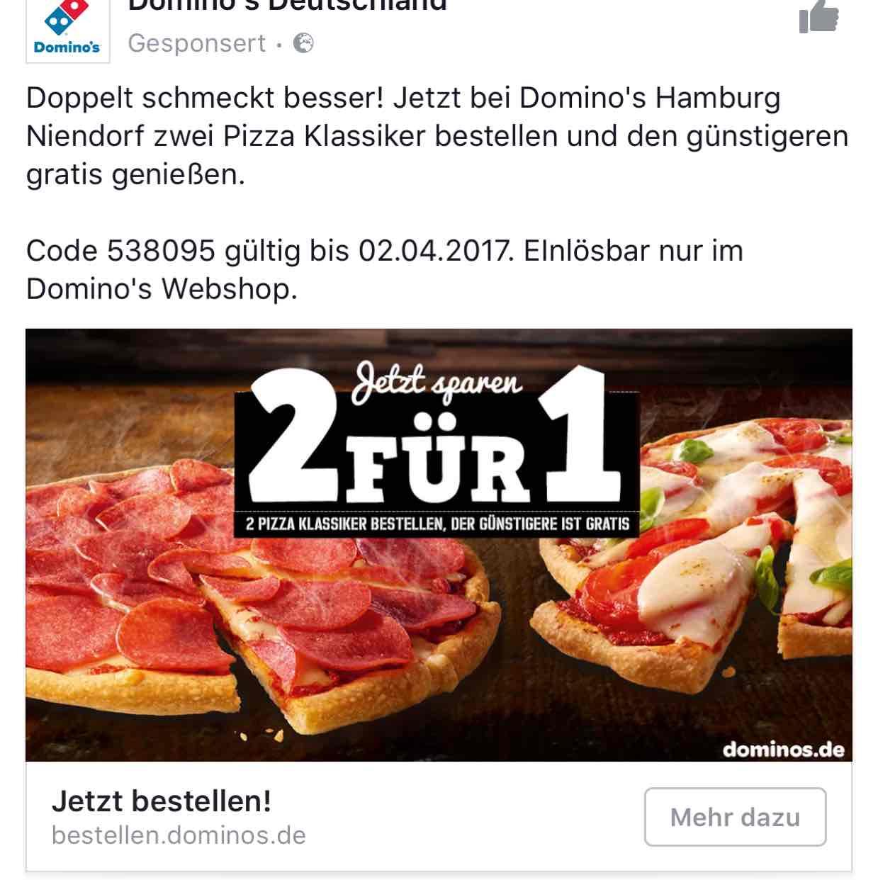 Dominos Pizza 2 Pizzen bestellen Lokal Hamburg Niendorf und nur eine bezahlen