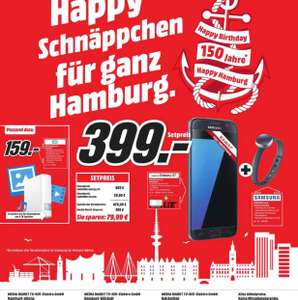 [ Lokal Hamburg und Umgebung Media Märkte ] Samsung Galaxy S7 32GB inkl Samsung Charm für 399€