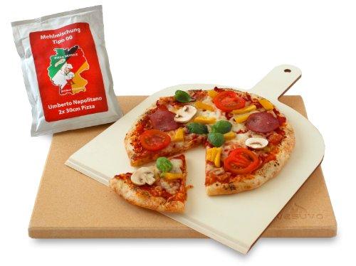 Vesuvo Pizzastein- / Brotbackbackstein Set für Backofen und Grill