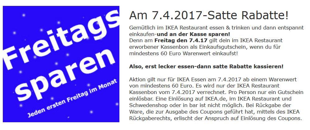 [Ikea - Lokal in Essen] Am 7.April - IKEA Restaurant Kassenbon gilt als Einkaufsgutschein ab 60€ Warenwert