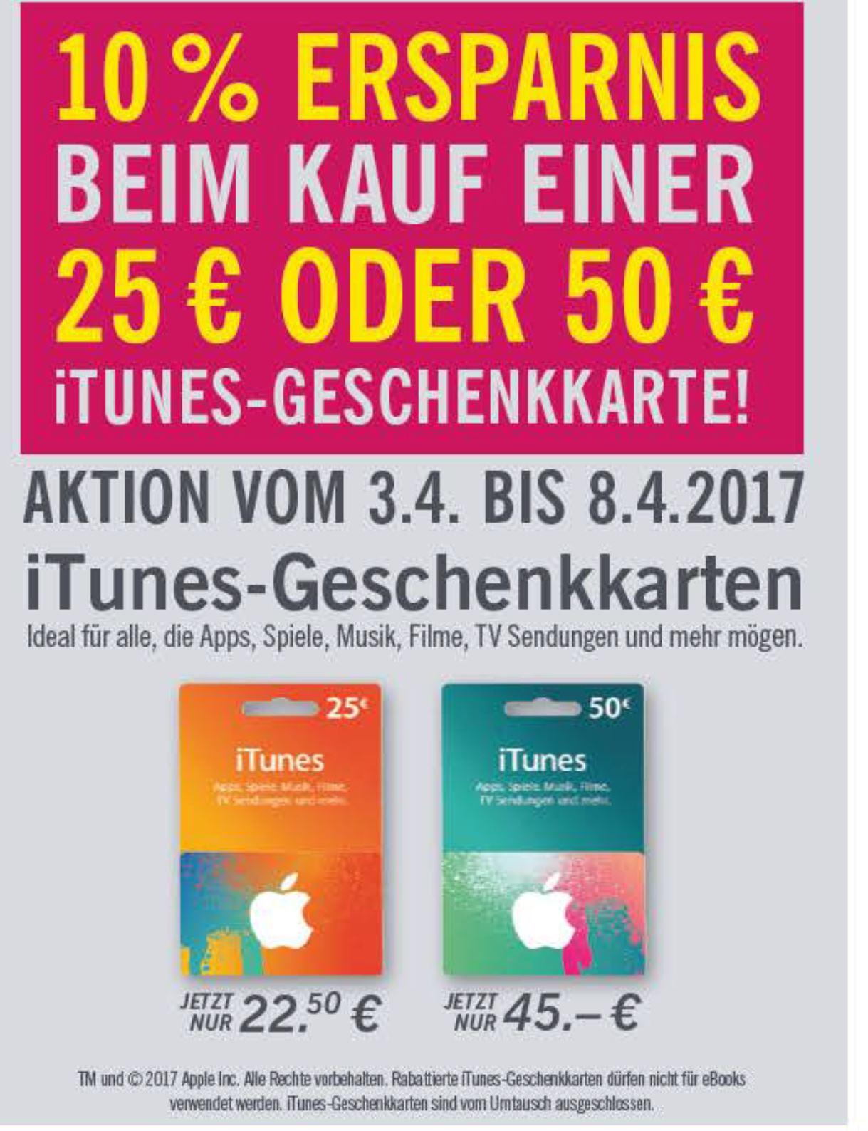 itunes Geschenkkarten mit 10% Rabatt, 25 € Karte für 22,50 €, 50 € Karte für 45 € im Lidl