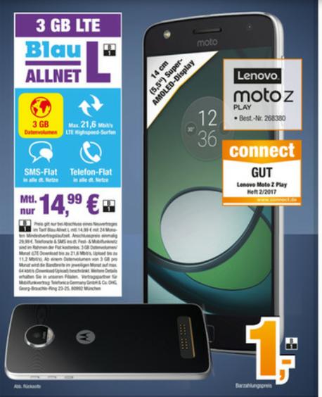 (Lokal Expert Bening) Motorola Moto Z Play mit Blau Allnet Flat
