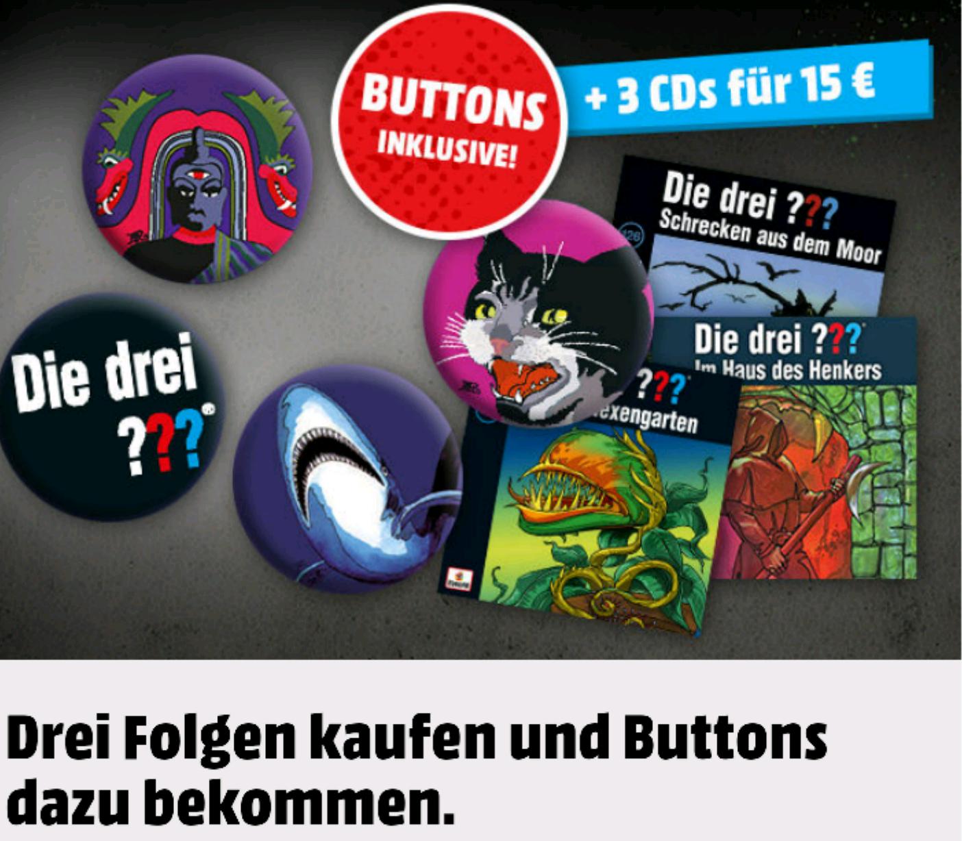 """[Mediamarkt] 3 CDs """"Die drei ??? Fragezeichen"""" + 4  Buttons 15€"""