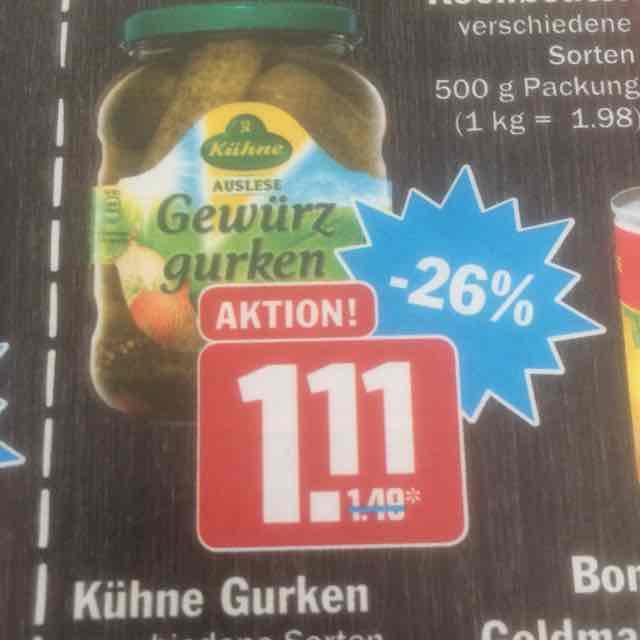 [HIT] Kühne Gewürzgurken Bundesweit beim kauf von 2 Gläsern