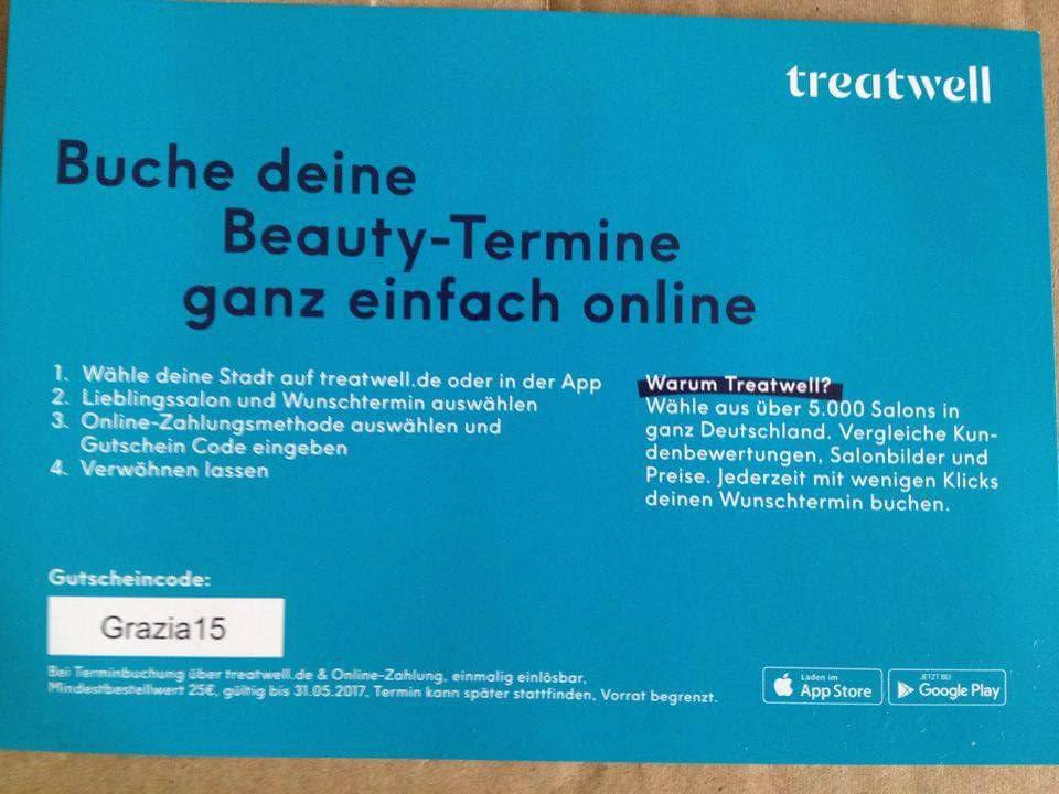 treatwell 15€ Gutschein mit Mbw 25€ nur Neukunden