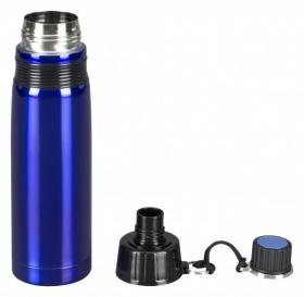 Trinkflasche Edelstahl blau mit Thermoisolierung
