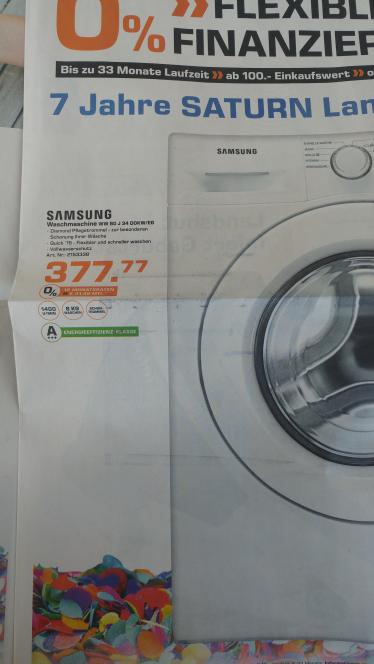 [Lokal Landshut/Saturn] Samsung Waschmaschine WW80J34D0KW/EG