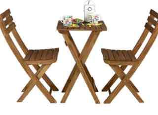 2 Stühle +Tisch Zusammenklappbar aus braun geölter Akazie