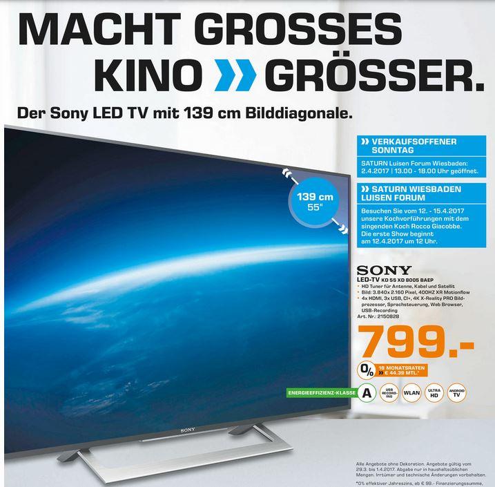 [Lokal] Sony KD-55XD8005 für 799€ in den Saturn Märkten Wiesbaden und Mainz