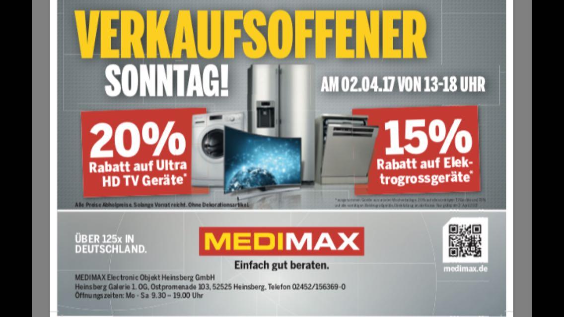 20% Rabatt auf alle UHD-Geräte & 15% auf alle Elektrogeräte - MEDIMAX HEINSBERG